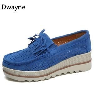 Image 4 - Dwayne 여성 플랫 플랫폼로 퍼 숙 녀 우아한 정품 가죽 Moccasins 신발 캐주얼 여성 신발에 여자 가을 슬립