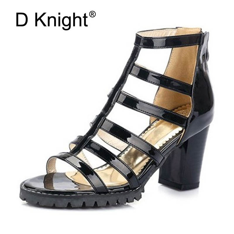 Women Gladiator Sandals Stripe Summer Shoes 7.5CM Square Heels Zipper Cut outs Sexy Dress Pumps For Woman Plus Size 33-45 D89 gladiator womens size 11 heels sheepskin sandals large size 33 cm 43 cm summer black green sandy cross tied woman pumps sexy