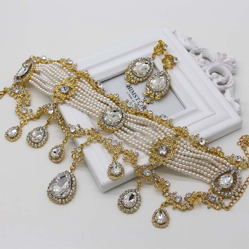 Bijoux de luxe collier boucles d'oreilles diadèmes couronne 3 pièces Roses or/argent mariée bijoux ensemble grande larme cristal perle bijoux ensemble - 5