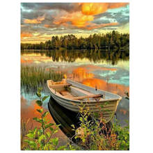 Decorative Canvas Painting By Numbers Landscape,Diy Oil Sunset Lakeside Boat