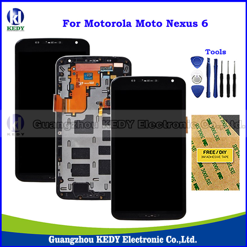 Подробнее о Original LCD Display with Digitizer Touch Screen Assembly For Motorola Moto Google Nexus 6 XT1100 XT1103 LCD with Frame + Tools original nexus 6 lcd panel for motorola google nexus 6 xt1100 xt1103 lcd display touch screen digitizer with frame assembly