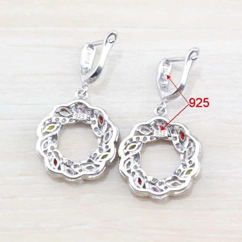 Clássico colorido zircônia cúbica 925 prata esterlina feminino conjunto de jóias de casamento anel tamanho 6/7/8/9/10 caixa de presente grátis t295
