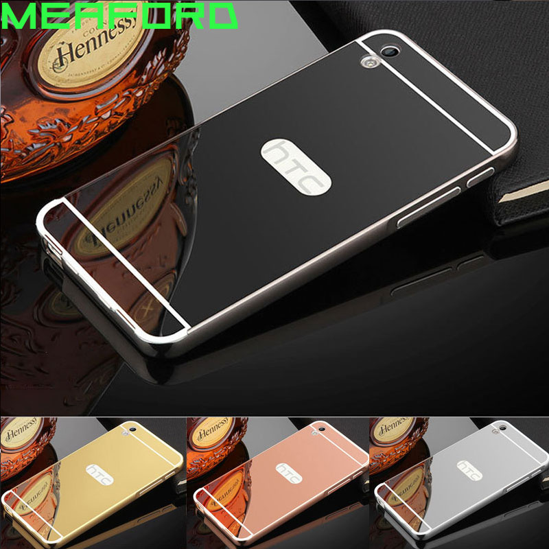 For Coque HTC Desire 816 Case Aluminum Metal Bumper Mirror Plastic Back Case For Funda HTC Desire 816 Cover 800 D816w Phone Case