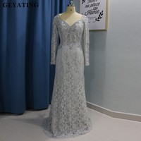 Elegant Sliver Gray Lace Mother of the Bride Dresses Plus Size Long Sleeves Women Party Wedding Formal Dress brautmutter kleider