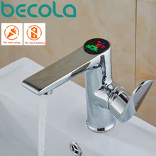 becola LED temperature and digital display faucet Solid brass chrome basin tap Water Power bathroom faucets B-3035
