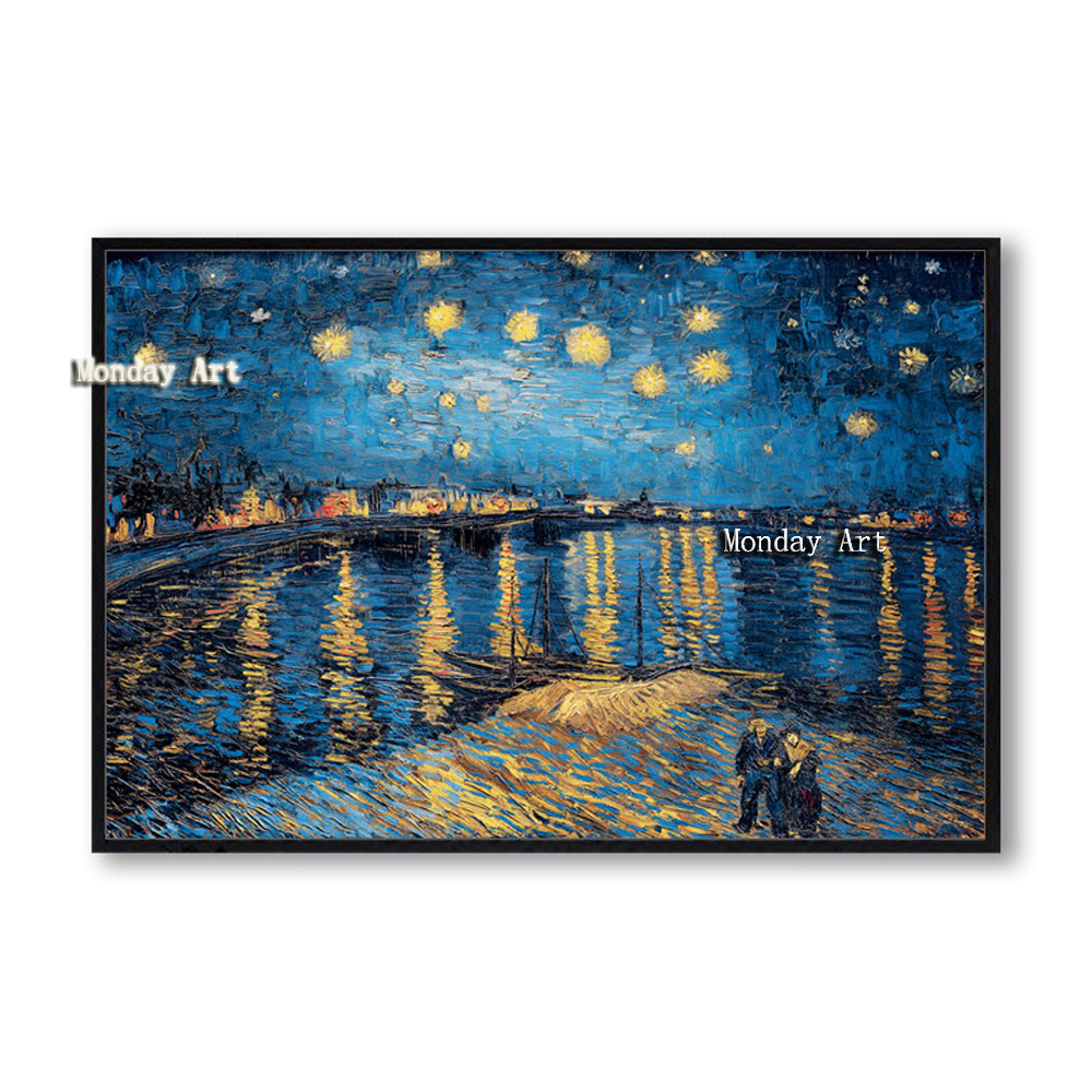 K Elegant Poetry Starry Night by Vincent Van Gogh Famous Artist Art Print Poster Wall Picture Canvas Oil Painting Home Wall Decor