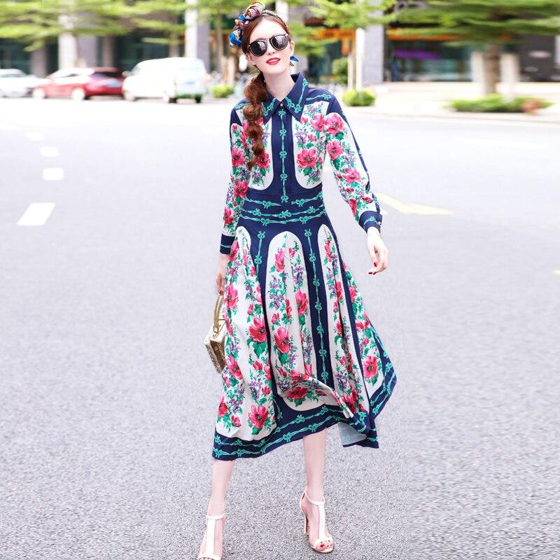 Floral Femmes Haute Manches Maxi Designers Élégant Vintage Robe Turn Piste down Collar Automne 2018 Qualité Imprimé Longues A35L4Rj