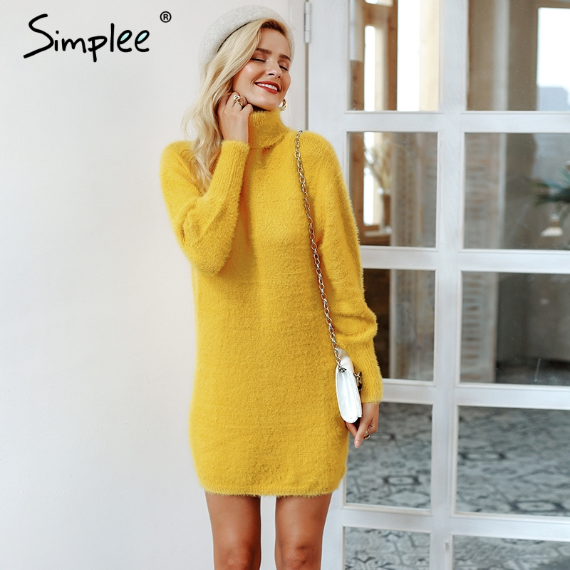 Simplee Turtleneck Latern Sleeve Sweater Dress Yellow Bodycon Sexy Women Dress Pullover Female 2018 Thick Autumn Winter Dresses