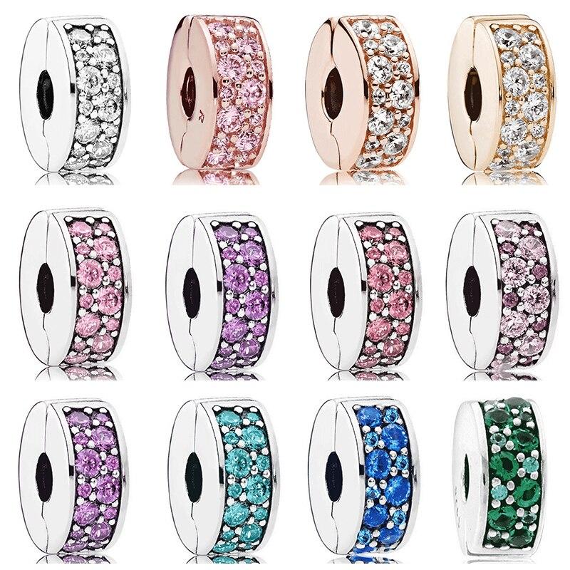 100% 925 Sterling Silber Original Modell Kopie Schmuck Helle Cyan Glitter Elegante 925 Silber Clip Stopper Bead Fit Pan Armband