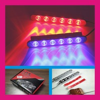 LED DRL daytime running light 4x6led 24 leds strobe light for car with wireless remote controller red white blue