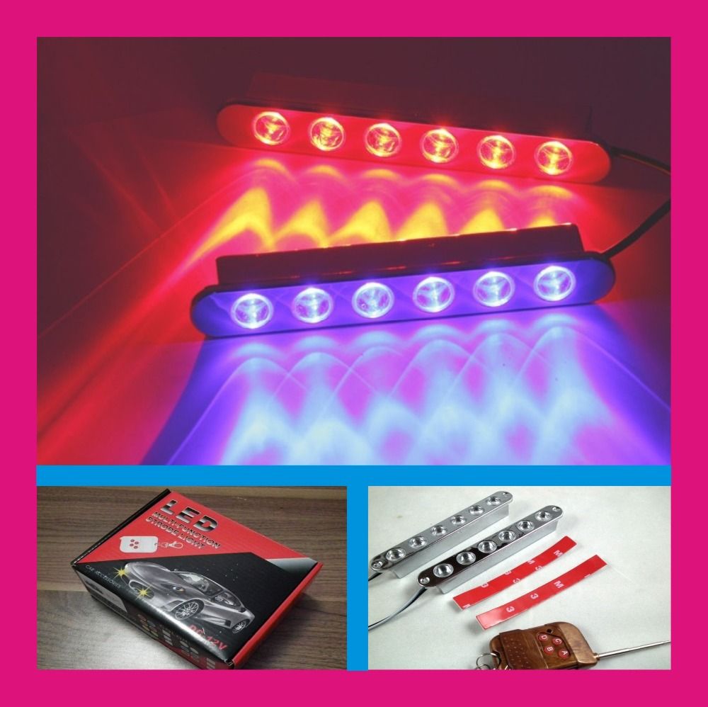 LED DRL daytime running light 4x6led 24 leds strobe light for car with wireless remote controller red white blue 4in1 daytime running light 12v 12w led car emergency strobe lights drl wireless remote control kit car accessories universal