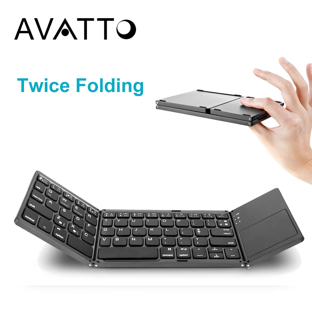 [AVATTO] A18 Tragbare Zweimal Klapp Bluetooth Tastatur BT Drahtlose Faltbare Touchpad Tastatur für IOS/Android/Windows ipad Tablet