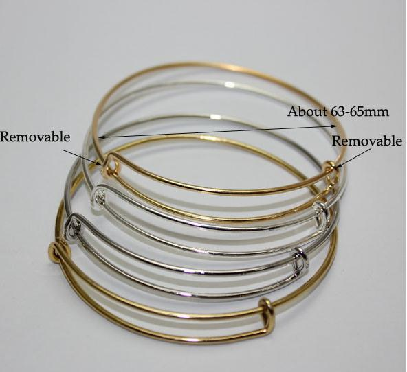 Wire Bracelets With Charms 2: Expandable Wire Bangle Bracelet Adjustable Gold Silver