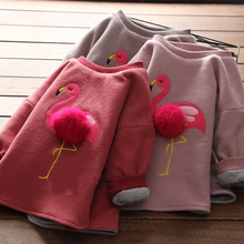 2017 Girls Winter Thick T Shirts for Baby Girl Brand Sweatshirt Children Tees Long Sleeve 3D Fur Ball Flamingo Pompom Clothing