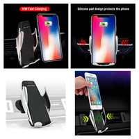 360 Degree Rotation Charging Mount Bracket 2in1 Automatic Clamping Wireless Car Charger For iphone Android Air Vent Phone Holder