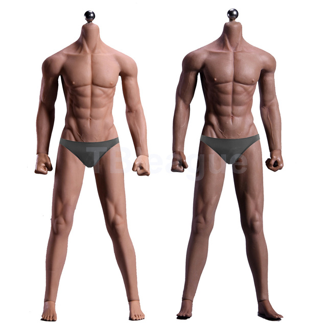 1/6 Scale 12 Ultra Flexible Muscular Male Seamless Body Stainlee Steel Skeleton Rubber Human like Skin Bodies for 1/6 Head Toy