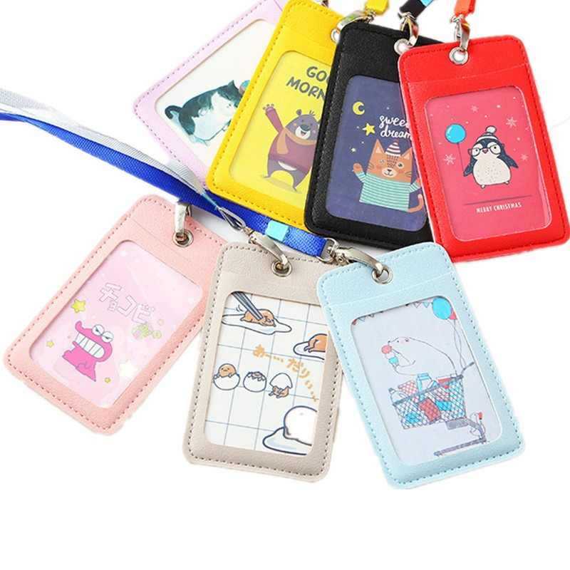 women business lanyard card holder leather card case for student candy color cute cartoon children badge ID photo card holders