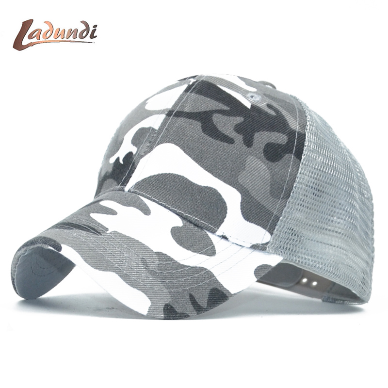 0d2af620cc361 2018 LADUND Camo Mesh Baseball Cap Men Camouflage Bone Masculino Summer Hat  Men Army Cap Trucker Snapback Hip Hop Dad Hats