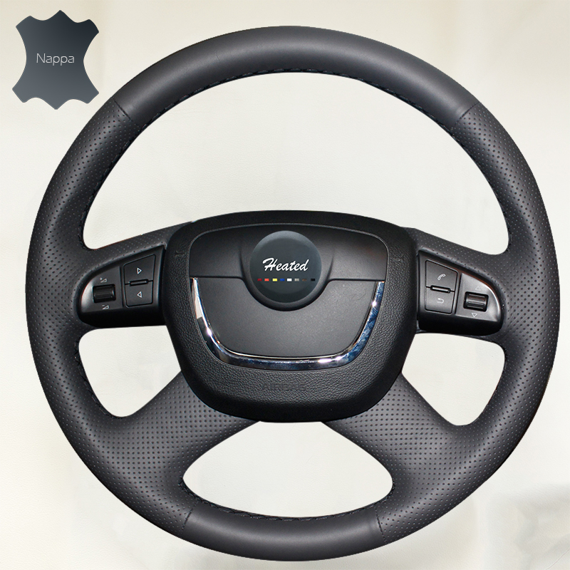 Nappa Genuine Leather Car Steering Wheel Cover for Skoda Octavia with Function key 16SWSKDOA01 braid on the steering wheel