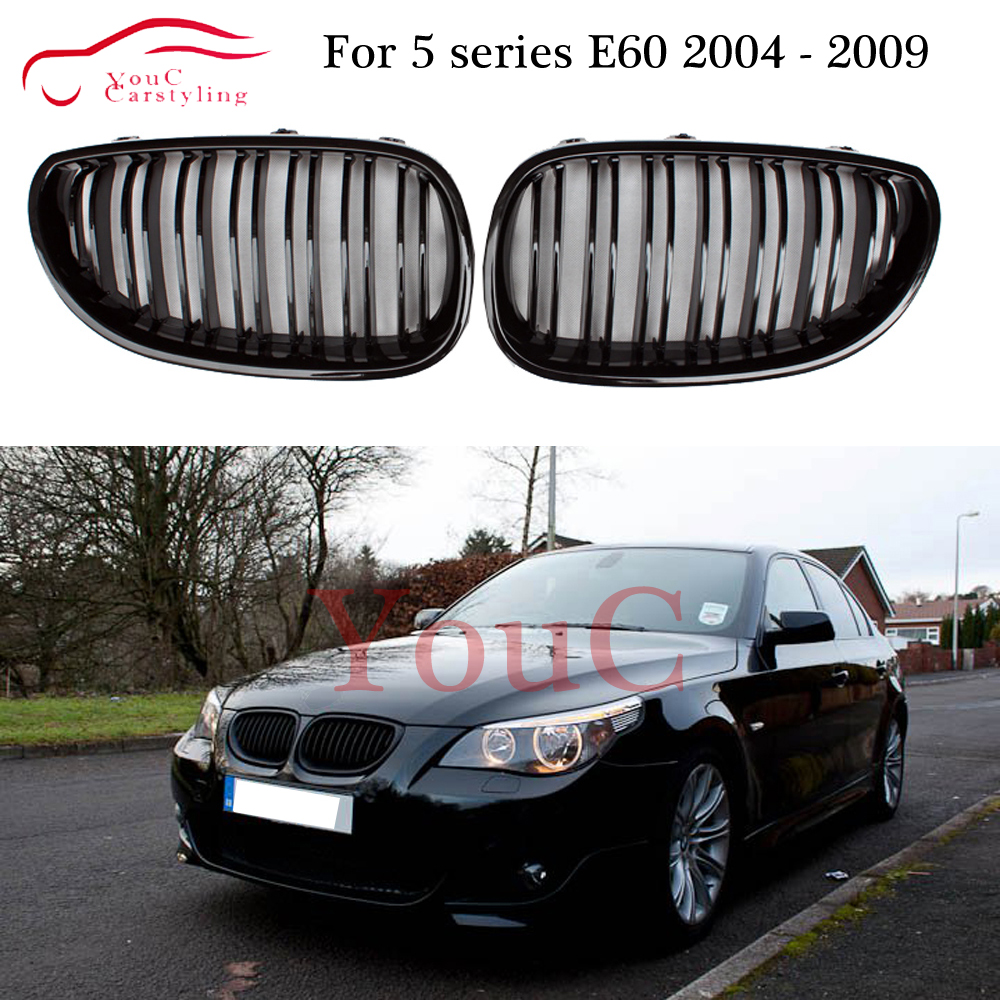 E60 Car Front Sport Grill Kidney Grilles Grille For BMW 5 Series M5 E60 / E61 2004 2005 2006 2007 2008 2009 2010 Gloss Black