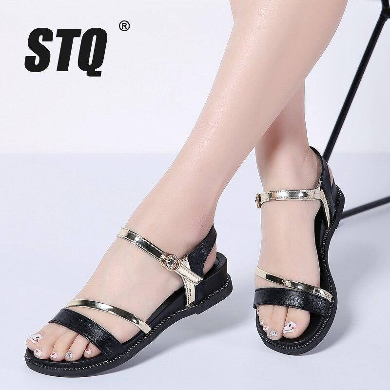 2a707267de91a STQ 2019 Summer women sandals black gold flat Sandals women rubber beach flip  flops ladies flat heel gladiator sandals 1810