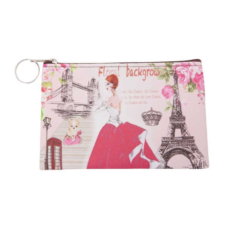2018 Lucu Menara Eiffel Wanita Gadis Faux Kulit Tas Koin Dompet Kecil Ritsleting Mini Kopling Dompet Tas Kartun Baru indah