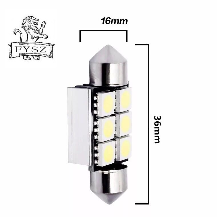 2 X Festoon 39mm C5W led C10W Bulb Car Interior light 39mm 6SMD 5050 COB Reading Dome Lamp 12V 24V 6000K White in Signal Lamp from Automobiles Motorcycles
