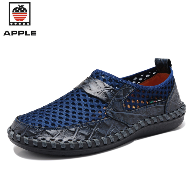 APPLE 2017 Hot Sale Breathable Mesh + Genuine Leather Men's Running Shoes British Slip On Male outdoor Sneakers 2817