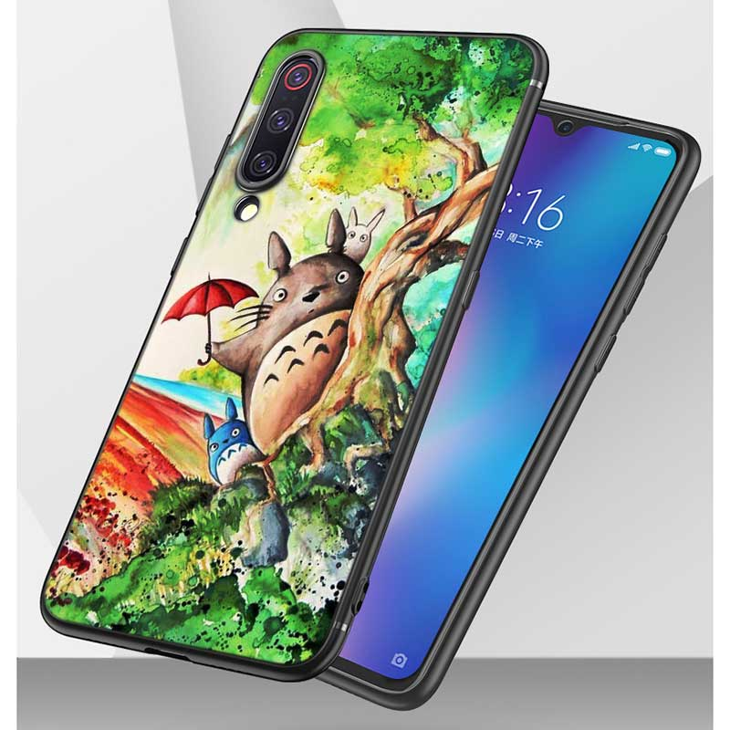 Black Silicon Phone Case Anime Totoro Ghibli Spirited for Xiaomi 9 8 A1 5X A2 6X Redmi Note 7 S2 4 4X 5 5A 6 6A Pro Lite Cover in Fitted Cases from Cellphones Telecommunications