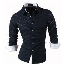 Sportrendy גברים של שמלת חולצה מקרית ארוך שרוול Slim Fit אופנה הדרקון אופנתי JZS044 כהה