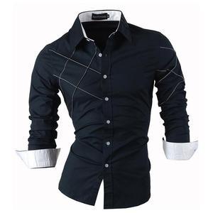 Image 1 - Sportrendy גברים של שמלת חולצה מקרית ארוך שרוול Slim Fit אופנה הדרקון אופנתי JZS044 כהה