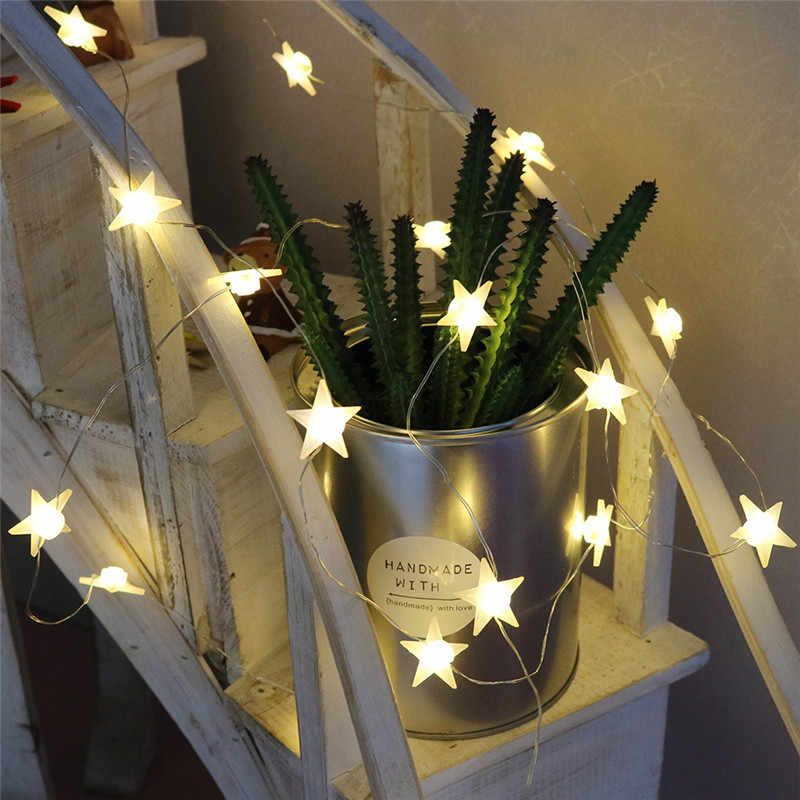 20 Leds Star Shaped LED Fairy String Lights Battery Operated Holiday Christmas Party Wedding Decoration Fairy Lights