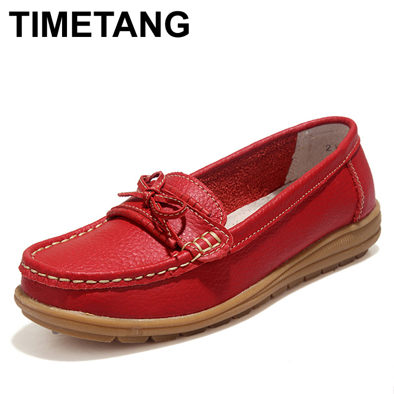 TIMETANG Shoes Woman 2017 Genuine Leather Women Shoes Flats 4Colors Loafers Slip On Women's Flat Shoes Moccasins #WD2856 timetang spring womens ballet flats loafers soft leather flat women s shoes slip on genuine leather ballerines femme chaussures