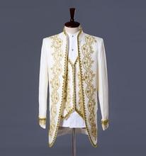 Men Wedding Suit(Jacket+Pants+vest) white black Vogue Palace style Gold embroidery men Tuxedos Classic Groomsmen actual pictures