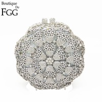 Gift Box Women Circular Round Hollow Out Silver Crystal Evening Metal Clutch Bags Ladies Hard Case