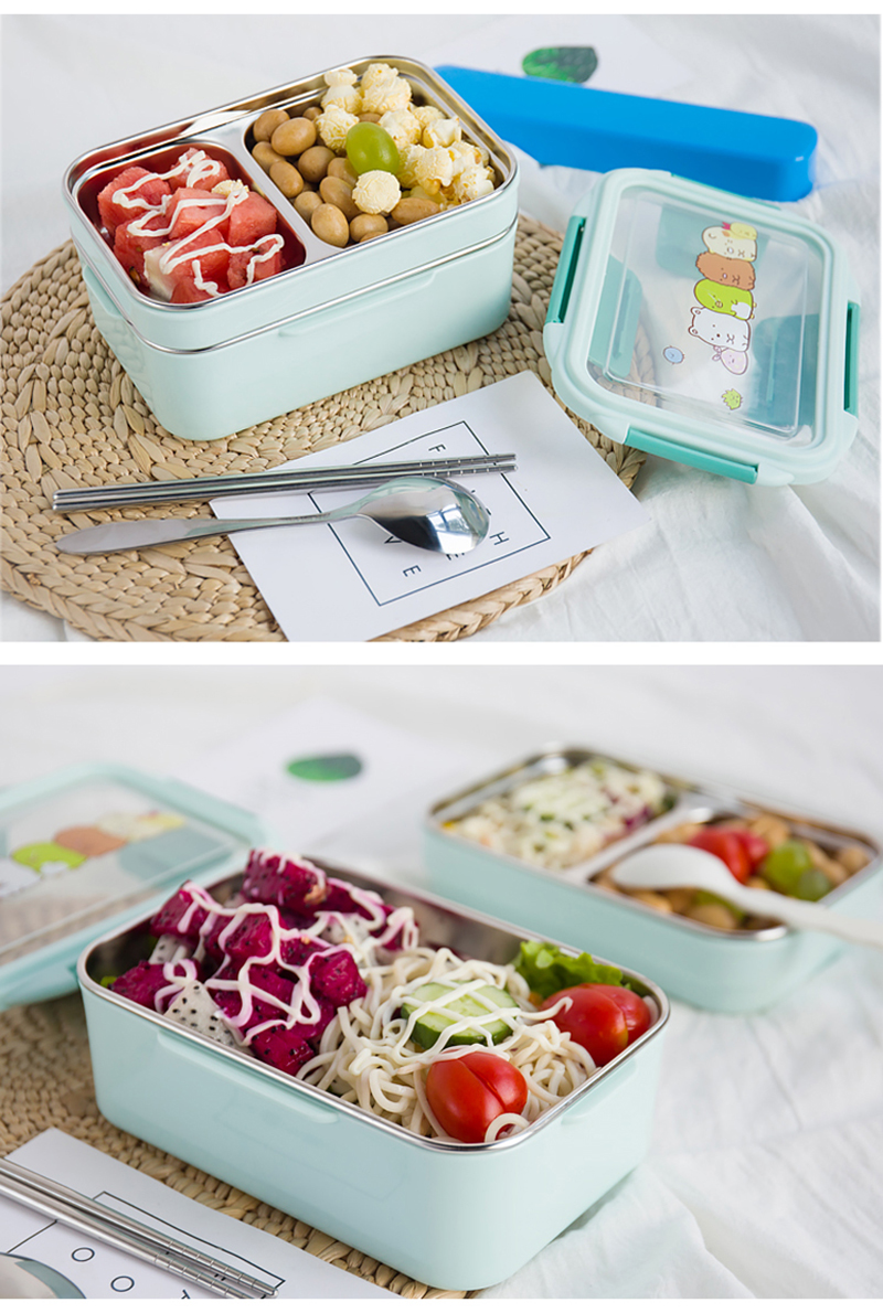 TUUTH Cartoon Lunch Box  Stainless Steel Double Layer Food Container Portable for Kids Kids Picnic School Bento Box B10