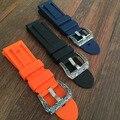 НОВЫЙ 24 мм Синий Оранжевый Черный ремешок водонепроницаемый силиконовой резины ремешок для часов ремешок для PAM, со специальной Пряжки, Бесплатная Доставка