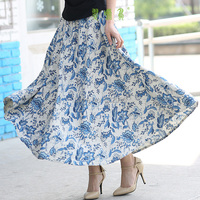 Free Shipping Blend Linen Long Skirt Spring Skirt Chinese Style Blue And White Porcelain Skirts Casual
