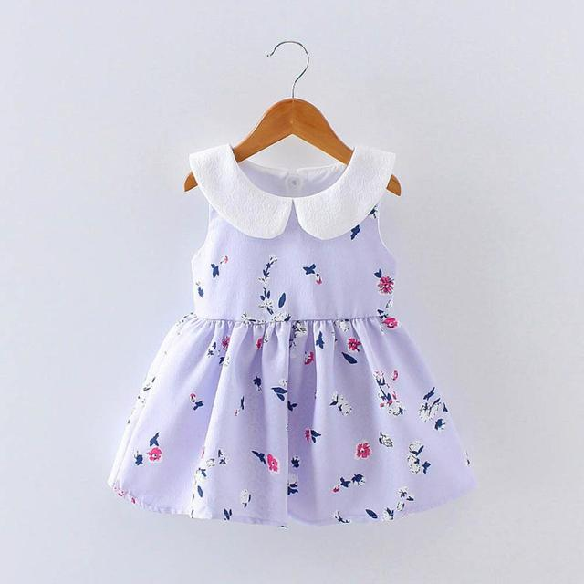 547ec7a34 Pink Purple Floral Baby Girl Summer Dress Cute Toddler Baby Girl ...