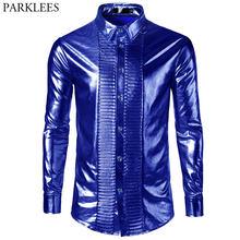Men s Nightclub Metallic Royal Blue Button Down Shirt 2018 New Fashion  Shiny Slim Fit Disco Dance Tops Costume Party Clubwear 7b69e074d85f