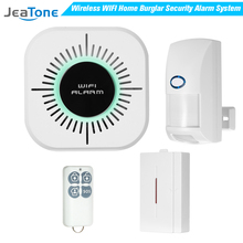 JeaTone Wireless Home Burglar Alarm Systems Security 25KG Pet Immune PIR Motion Sensor Detector DIY Kit Smart Phone App Control yobang security alarm systems security home app control wifi home alarm systems with pir detector voice security alarm kit