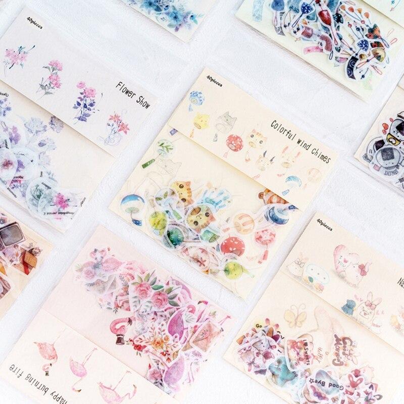 40 Pcs/lot Refreshing Flower Mini Paper Sticker Decoration Stickers DIY Ablum Diary Scrapbooking Label Sticker Kawaii Stationery