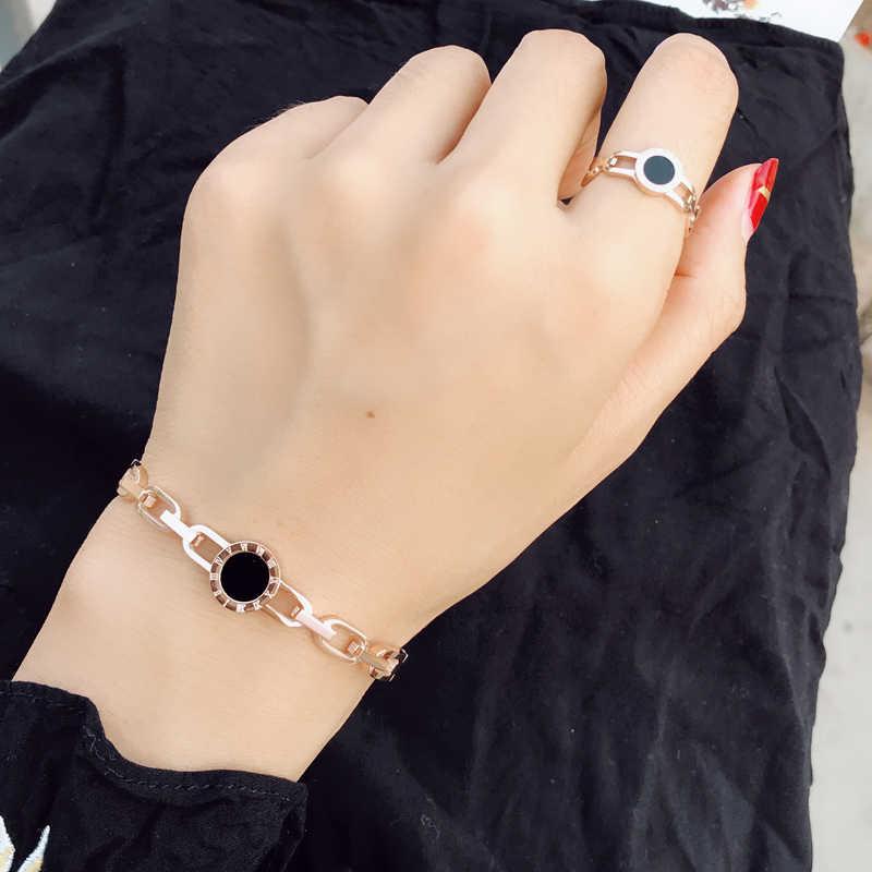 YUN RUO 2018 הגעה חדשה שחור רומית צמיד מאהב קאף רוז צבע כסף זהב אישה תכשיטי פלדת טיטניום לא יימוג בסגנון קוריאני