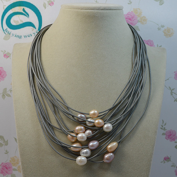 Woman Natural Oval Freshwater Pearl Jewelry  Gem Stone Beads 15 Row Gray Leather Pearl Necklace 18-20 Magnet ClaspWoman Natural Oval Freshwater Pearl Jewelry  Gem Stone Beads 15 Row Gray Leather Pearl Necklace 18-20 Magnet Clasp