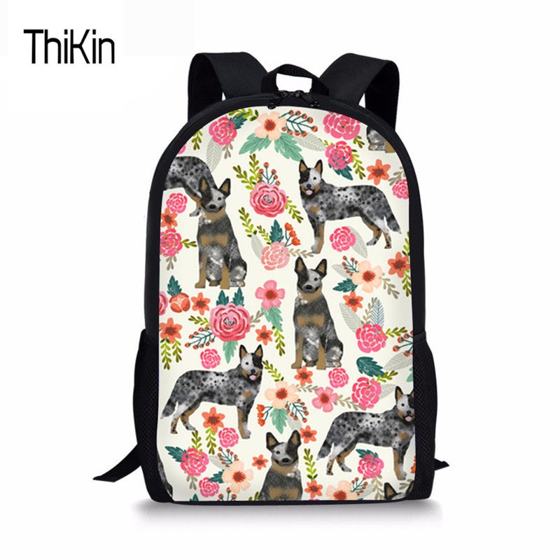 THIKIN Fashion Schoolbag For Kids Boys Girls Australian Cattle Dog Florals Cream Women School Backpacks Female Fashion Satchel