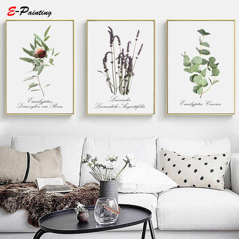 Modern Canvas Painting Botanical Prints Wall Art Plant Eucalyptus Lavender Leaves Print Poster Living Room Home Decor