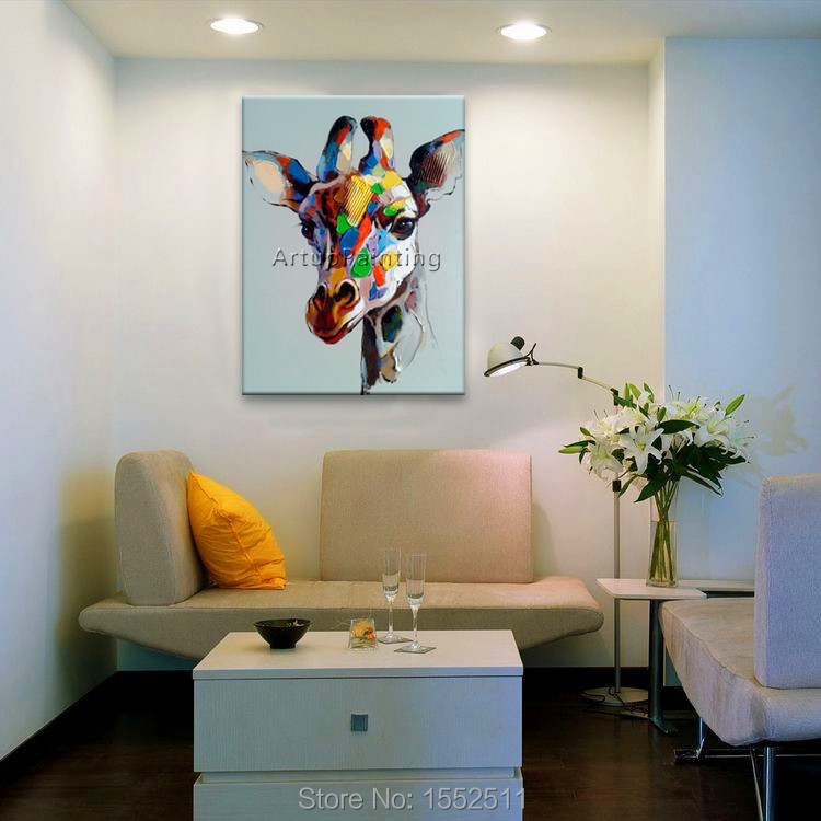 Lukisan minyak abstrak Modern pada kanvas untuk pop art jerapah - Dekorasi rumah - Foto 4