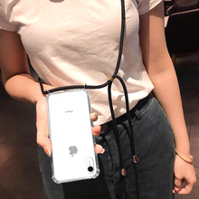 ONEVAN Cross Shoulder Strap Clear CaseFor iPhoneXS MAX XR 8 7 6 s Plus Case anti-fall cover The TPU Cases