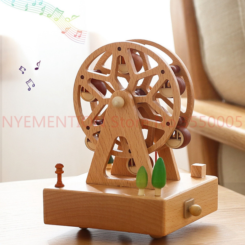 Carousel Musical Boxes Wooden Music Box Wood Crafts Retro Birthday Gift Vintage Home Decoration Accessories 10pcs