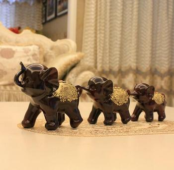 Creative Home Soft Decoration Wedding Arrangement Resin Handicraft  Animal Elephant A Happy Family Auspicious Gift